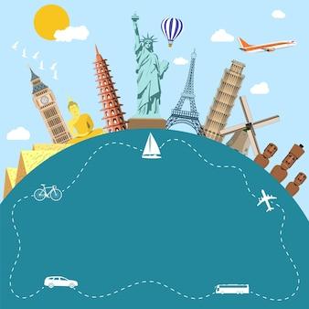 Viagem pelo mundo. planejando as férias de verão. férias de verâo. turismo e tema de férias. cartão postal com ícones de monumentos famosos do mundo. ilustração em vetor design plano. conceito de viagens e férias Vetor Premium