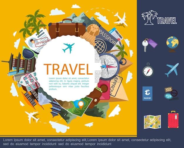 Viagem plana ao redor do conceito mundial com documentos de mapa de bagagem de avião globo, óculos de sol, bússola, câmera, bilhetes e ilustração de pontos turísticos famosos,