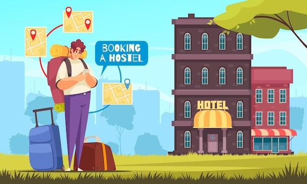 Viagem plana colorida reserva reserva composição de hostel com reserva online do hostel