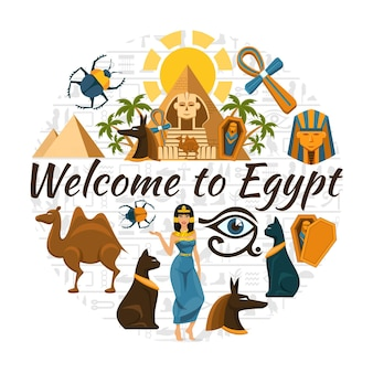 Viagem plana egito cartão redondo com símbolos coloridos tradicionais egípcios e ilustração isolada de elementos,