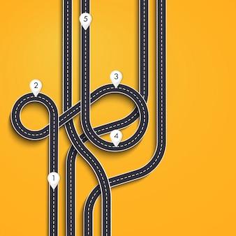 Viagem por estrada e rota de viagem em amarelo