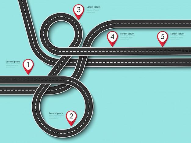 Viagem por estrada e rota de viagem em azul