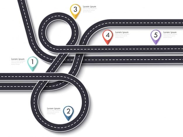 Viagem por estrada e rota de viagem em branco Vetor Premium