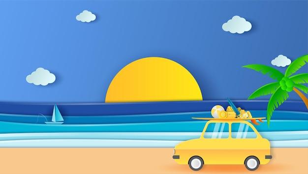 Viagem por estrada, férias de verão, férias, viagens de carro em estilo jornal