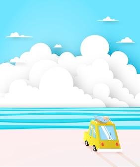 Viagem por estrada na praia com estilo de arte de papel e ilustração em vetor esquema de cor pastel