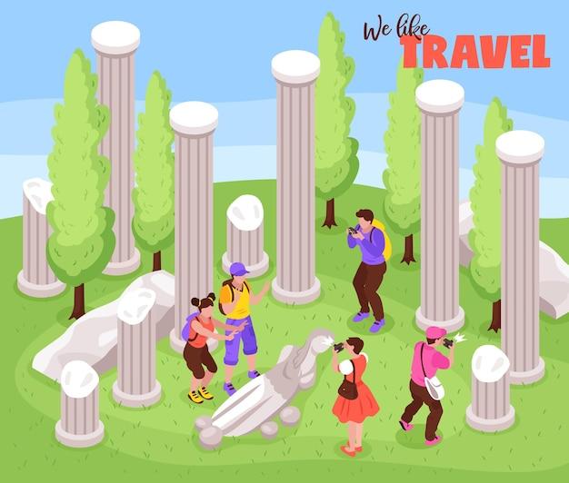 Viagem, viagem, férias, viagem, composição isométrica, com, turistas, entre, antigas, marco esculturas, pilares, fotos, ilustração