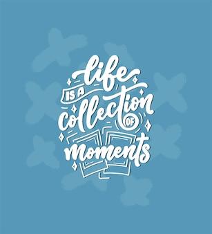 Viagem vida estilo inspiração citação, mão desenhada letras cartaz. tipografia motivacional
