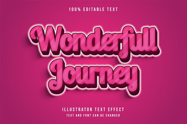 Viagem wonderfull, efeito de texto editável 3d moderno gradação rosa estilo de texto bonito