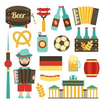 Viagens de alemanha atrações turísticas alimentos e ícones de cerveja conjunto ilustração vetorial isolado