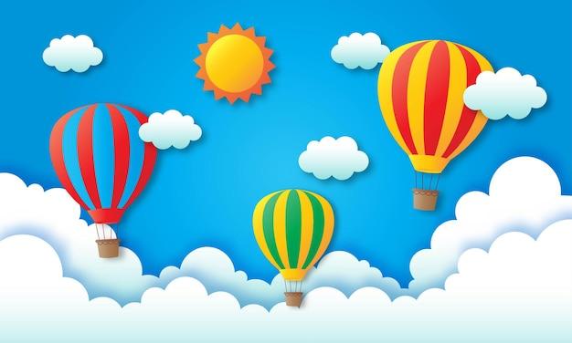 Viagens de arte em papel com balão voando.