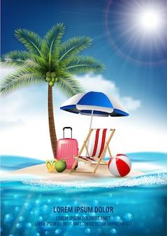 Viagens de vetor realista e férias de praia verão relaxe design. ilha é cercada, mar, praia, guarda-chuva, coco, nuvens, bola, bagagem, cadeira de praia