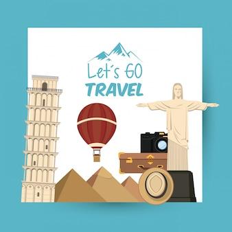 Viagens de viagem e lugares turísticos