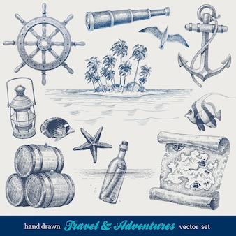 Viagens e aventuras mão desenhado conjunto