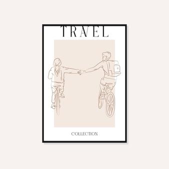 Viagens e pontos de referência ilustração mínima vetor arte parede design de cartaz