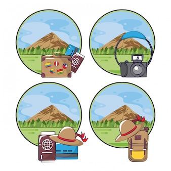Viagens e turismo conjunto de emblemas