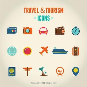 Viagens e turismo conjunto de ícones