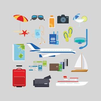 Viagens e turismo ícones planas de verão