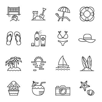 Viagens e verão praia conjunto de ícones.