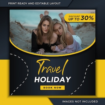Viagens férias banner para instagram e mídia social postar modelo.