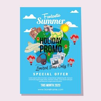 Viagens promo modelo verão férias estilo simples ilustração vetorial