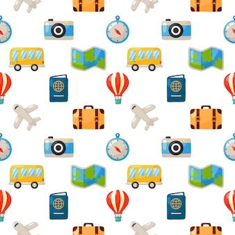 Viagens sem costura padrão bonito. estilo cartoon isolado