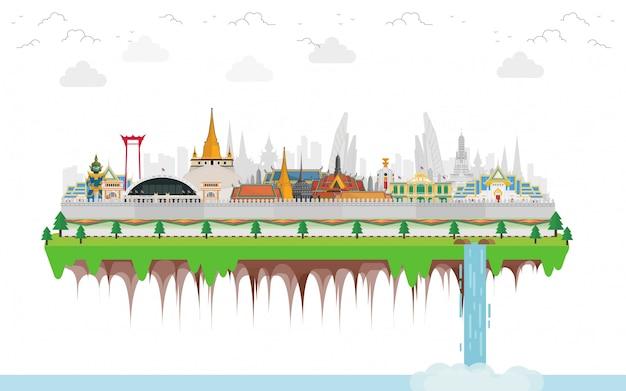 Viagens tailândia com marco e lugar de viagem e gigantes guardiões