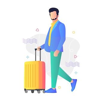 Viajando, conceito de ilustração para site e aplicativo móvel