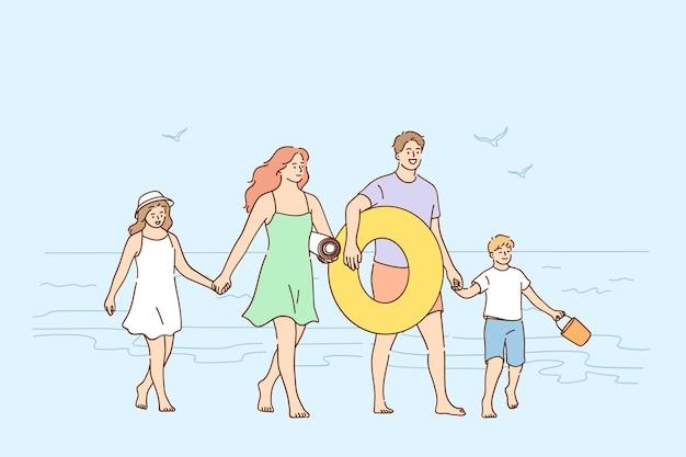 Viajando, curtindo férias com conceito de família Vetor Premium