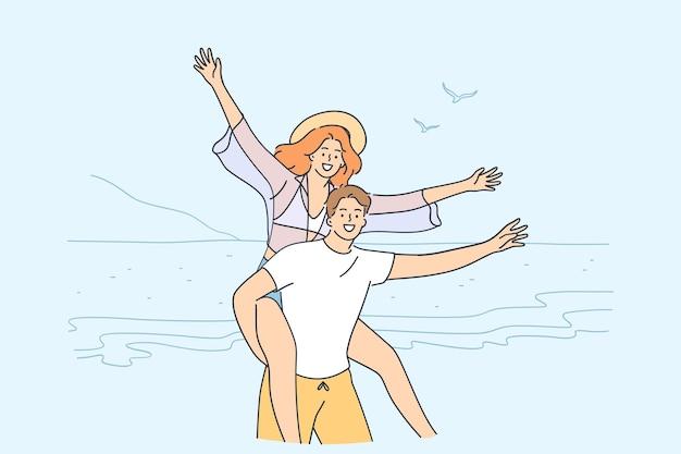 Viajando, curtindo férias juntos, conceito de casal