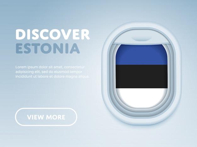 Viajando de avião. modelo de banner de desenho vetorial plana