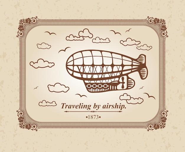 Viajando de dirigível.