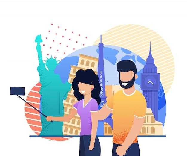 Viajando feliz casal jovem tomar selfie