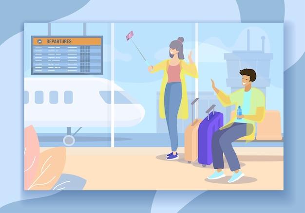 Viajando, homem e mulher fazendo selfie no aeroporto