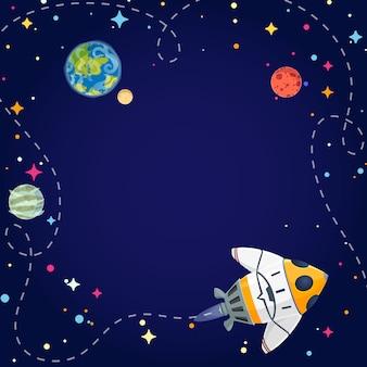 Viajando nave espacial dos desenhos animados.