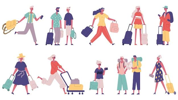 Viajando personagens masculinos e femininos de turistas de férias de verão. turista com bagagem em conjunto de ilustração vetorial de aeroporto. mascotes viajantes