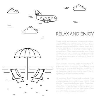 Viajando vertical banner preto e branco com guarda-sol, salão, mar, avião.