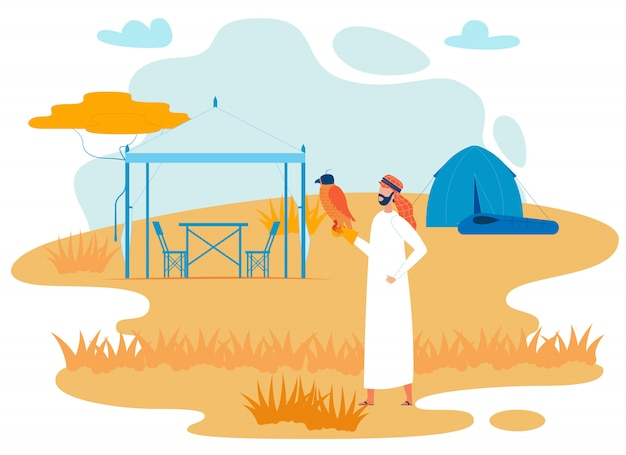Viajante beduíno com falcão vector plana personagem