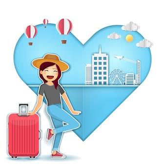 Viajante bonito dos desenhos animados da mulher com bagagem no conceito do curso do fundo do coração em todo o mundo.