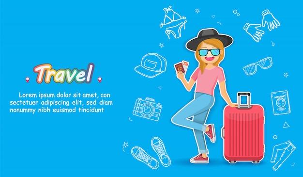 Viajante bonito dos desenhos animados da mulher da tração da mão do doodle com recurso da bagagem e dos acessórios