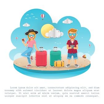 Viajante bonito dos desenhos animados do homem e da mulher com bagagem no fundo.