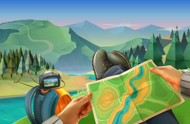 Viajante com mapa com paisagem