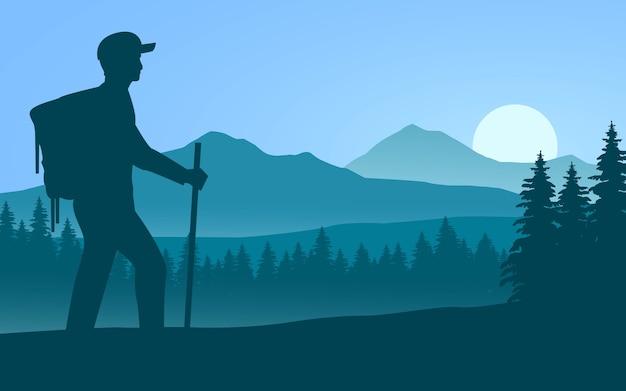 Viajante com mochila e vara caminhando sozinho ilustração com montanha