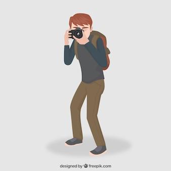 Viajante com uma ilustração de câmara