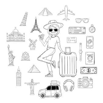 Viajante da mulher da tração da mão da garatuja com bagagem. acessórios de viagem em todo o mundo conceito.