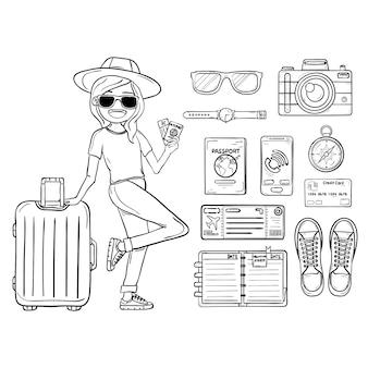 Viajante da mulher da tração da mão da garatuja com bagagem.