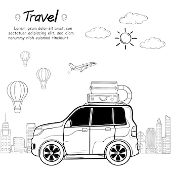 Viajante de desenho animado doodle mão draw carro com fumaça e ativos viagem ao redor do mundo conceito isolado