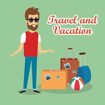 Viajante de homem com personagens de malas