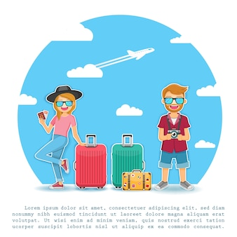 Viajante de homem e mulher viajam ao redor do conceito de mundo.