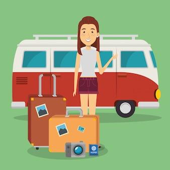 Viajante de mulher com personagens de malas