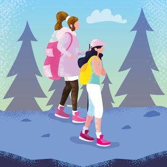 Viajante de mulheres no personagem de avatar de paisagem